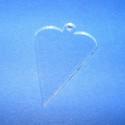 Akril medál alap-20 (50x30 cm/3 db) - szív - akasztós - egyenes, Üveg, Gyöngy, ékszerkellék, Ékszerkészítés, Akril medál alap-20 - szív - akasztós - egyenes  Mérete: 50x30x2 mm  Az anyag víztiszta (mindkét ol..., Alkotók boltja
