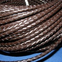 Fonott bőrszíj - 5 mm (1. minta/0,5 m) - sötétbarna, Gyöngy, ékszerkellék, Egyéb alkatrész, Fonott bőrszíj - 5 mm (1. minta/0,5 m) - sötétbarna  Valódi bőr alapanyagból készült fonott hengeres..., Alkotók boltja