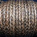 Fonott bőrszíj - 5 mm (10. minta/0,5 m) - antik fekete, Gyöngy, ékszerkellék, Egyéb alkatrész, Fonott bőrszíj - 5 mm (10. minta/0,5 m) - antik fekete  Valódi bőr alapanyagból készült fonott henge..., Alkotók boltja