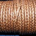 Fonott bőrszíj - 5 mm (9. minta/0,5 m) - antik sötétbarna, Gyöngy, ékszerkellék, Egyéb alkatrész, Ékszerkészítés, Mindenmás, Fonott bőrszíj - 5 mm (9. minta/0,5 m) - antik sötétbarna Valódi bőr alapanyagból készült fonott he..., Alkotók boltja
