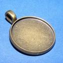 Medál alap (185/C minta/1 db), Gyöngy, ékszerkellék,  Medál alap (185/C minta) - kerek - bronz színben  Mérete: 27x22x2 mmA belső mérete: 20 mm A m..., Alkotók boltja