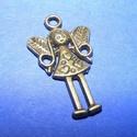 Medál (523. minta/1 db) - tündér, Gyöngy, ékszerkellék,  Medál (523. minta) - tündér - antik bronz színben  Mérete: 25x15 mmAz ár 1 db termékre vonat..., Alkotók boltja