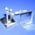 Mandzsettagomb alap (156. minta/2 db) , Gomb,  Mandzsettagomb alap (156. minta) - ezüst  színben  A gomb mérete:  17x17 mm (hossza: 28 mm)Hozz..., Alkotók boltja