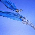 Organza nyaklánc alap (11. minta/1 db) - kék, Gyöngy, ékszerkellék,  Organza nyaklánc alap (11. minta) - kékNyaklánc alap szerelt: nikkel színű kapoccsal és lánc..., Alkotók boltja