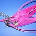 Organza nyaklánc alap (17. minta/1 db) - erős rózsaszín, Gyöngy, ékszerkellék,  Organza nyaklánc alap (17. minta) - erős rózsaszínNyaklánc alap szerelt: nikkel színű kapocc..., Alkotók boltja