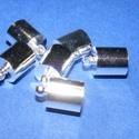 Bőrvég (434/G minta/1 db) - 12x8 mm, Gyöngy, ékszerkellék,  Bőrvég és szalagvég (434/G minta) - ezüst színben  Mérete: 12x8 mm Belső átmérő: 7 mm  Az akasztófu..., Alkotók boltja