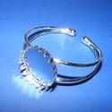 Fém karkötő alap (7. minta/1 db) - ezüst, Gyöngy, ékszerkellék,  Fém karkötő alap (7. minta) - egy tárcsás - ezüst színben - csipkés szélűNikkel-, kadmium..., Alkotók boltja