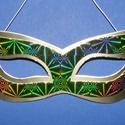 Papír szemálarc (18,5x6,3 cm/1 db) - arany/zöld, Díszíthető tárgyak, Papírmasé, Mindenmás,  Papír szemálarc - gumival - arany alap, hologramos zöld minta  Mérete: 18,5x6,3 cm Az ár egy..., Alkotók boltja