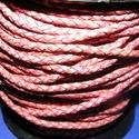 Fonott bőrszíj - 2,5 mm (1. minta/0,5 m) - pink, Vegyes alapanyag, Egyéb alapanyag, Bőrművesség,  Fonott bőrszíj (1. minta) - pinkValódi bőr alapanyagból készült fonott, hengeres szíj.Átmérője: 2,..., Alkotók boltja