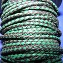 Fonott bőrszíj - 2,5 mm (14. minta/0,5 m) - fekete/zöld, Vegyes alapanyag, Egyéb alapanyag,  Fonott bőrszíj (14. minta) - fekete/zöldValódi bőr alapanyagból készült fonott, hengeres sz..., Alkotók boltja