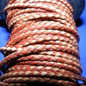 Fonott bőrszíj - 2,5 mm (18. minta/0,5 m) - barna/világosbarna, Vegyes alapanyag, Egyéb alapanyag,  Fonott bőrszíj (18. minta) - barna/világosbarnaValódi bőr alapanyagból készült fonott, heng..., Alkotók boltja