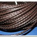 Fonott bőrszíj - 5 mm (1. minta/0,5 m) - sötétbarna, Vegyes alapanyag, Egyéb alapanyag, Bőrművesség,  Fonott bőrszíj (1. minta) - sötétbarna  Valódi bőr alapanyagból készült fonott hengeres szíj.Átmér..., Alkotók boltja