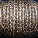 Fonott bőrszíj - 5 mm (10. minta/0,5 m) - antik fekete, Vegyes alapanyag, Egyéb alapanyag, Bőrművesség,  Fonott bőrszíj (11. minta) - antik feketeValódi bőr alapanyagból készült fonott, hengeres szíj.Átm..., Alkotók boltja
