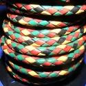 Fonott bőrszíj - 5 mm (2. minta/0,5 m) - vegyes színben, Vegyes alapanyag, Egyéb alapanyag,  Fonott bőrszíj (2. minta) - vegyes színben (piros/sárga/zöld/fekete)Valódi bőr alapanyagból..., Alkotók boltja