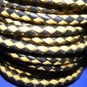 Fonott bőrszíj - 5 mm (4. minta/0,5 m) - fekete/sárga, Vegyes alapanyag, Egyéb alapanyag,  Fonott bőrszíj (4. minta) - fekete/sárgaValódi bőr alapanyagból készült fonott, hengeres sz..., Alkotók boltja