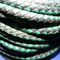 Fonott bőrszíj - 5 mm (6. minta/0,5 m) - fekete/zöld, Vegyes alapanyag, Egyéb alapanyag, Bőrművesség,  Fonott bőrszíj (6. minta) - fekete/zöldValódi bőr alapanyagból készült fonott, hengeres szíj.Átmér..., Alkotók boltja