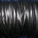 Lapos bőrszíj - 3x2 mm (6. minta/1 m) - fekete, Vegyes alapanyag, Egyéb alapanyag, Bőrművesség,  Lapos bőrszíj (6. minta) - tekercses - szögletes - fekete  Mérete: 3x2 mm átmérőjű  Valódi hasítot..., Alkotók boltja
