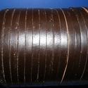 Lapos bőrszíj - 7x2 mm (10. minta/1 m) - sötétbarna, Vegyes alapanyag, Egyéb alapanyag, Bőrművesség,  Lapos bőrszíj (10. minta) - tekercses - lapos - sötétbarna   Mérete: 7x2 mm átmérőjűValódi hasítot..., Alkotók boltja
