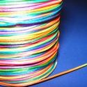 Szatén zsinór - 1 mm (ZS150. minta/1 m) - szivárvány, Gyöngy, ékszerkellék, Ékszerkészítés,  Szatén zsinór (ZS150. minta) - szivárvány  Kiválóan alkalmas fonási technikákhoz, nyakbavalók felf..., Alkotók boltja