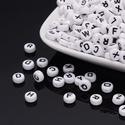 Betűgyöngy (7x3,5 mm/1 db), Gyöngy, ékszerkellék,  Betűgyöngy - fehér - fekete nyomtatott betűkkel  Mérete: 7x3,5 mmFurat: 1 mm  Az ár 1 db gyö..., Alkotók boltja
