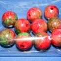 Márványgyöngy-4 (Ø 14 mm/10 db) - piros/zöld, Gyöngy, ékszerkellék,  Márványgyöngy-4 - piros/zöld  Gömbölyű műanyag gyöngyök  márványos felülettel. A gyöngyök könnyűek..., Alkotók boltja