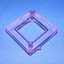 Akril gyöngy-5 (1 db) - lila négyzet, Gyöngy, ékszerkellék,     Akril gyöngy-5 - négyzet keret - lila  Mérete: 35x35x6 mmFurat mérete: 4 mm  Az ár 1 darab ..., Alkotók boltja