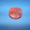 Ásványgyöngy-112 (Ø 30 mm/2 db) - átlátszó/korall hullámos kerek, Gyöngy, ékszerkellék,  Ásványgyöngy-112 - átlátszó/korallpiros - hullámos kerek  Mérete: 30x5 mm Az ár 2 darab á..., Alkotók boltja