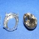 Csiszolt üvegkristály (93. minta/2+2 db) - ovális, Gyöngy, ékszerkellék,  Csiszolt üvegkristály (93. minta) - ovális  Mérete: 18x14 mm  Az ár 2 darab kristályra és 2 ..., Alkotók boltja
