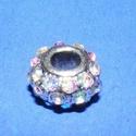 Strassz korong-2/B (fehér/1 db) - Swarowski, Gyöngy, ékszerkellék,  Strassz korong-2/B - fehér - Swarowski kristályokkal   A gyöngy mérete: 8x5,5 mm (lyuk: 3 mm) ..., Alkotók boltja