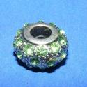Strassz korong-6 (zöld/1 db), Gyöngy, ékszerkellék,  Strassz korong-6 (zöld)  A gyöngy mérete: 14x8 mm (lyuk: 5 mm) Az ár 1 db gyöngyre vonatkozik..., Alkotók boltja