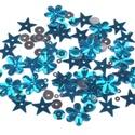 Flitter-55 (3 g) - kék-ezüst mix, Gyöngy, ékszerkellék, Varrás,  Flitter-55 - kék-ezüst mix (2 féle korong, virág, csillag)  Mérete: Ø 2-15 mmFurat mérete: 1..., Alkotók boltja