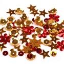 Flitter-56 (3 g) - piros-arany mix, Gyöngy, ékszerkellék, Varrás,    Flitter-56 - piros-arany mix (2 féle korong, virág, csillag)  Mérete: Ø 2-15 mmA furat mér..., Alkotók boltja