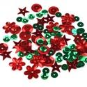 Flitter-57 (3 g) - piros-zöld mix, Gyöngy, ékszerkellék, Varrás,    Flitter-57 - piros-zöld mix (2 féle korong, virág, csillag)  Mérete: Ø 2-15 mmA furat mére..., Alkotók boltja