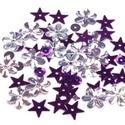 Flitter-58 (3 g) - lila-ezüst mix, Gyöngy, ékszerkellék, Varrás,  Flitter-58 - lila-ezüst mix (2 féle korong, virág, csillag)  Mérete: Ø 2-15 mmA furat mérete..., Alkotók boltja