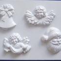 Karácsony-19 - gipszöntő forma (4 motívum) - angyalok, télapó, harang, Szerszámok, eszközök, Egyéb szerszám, eszköz, Gipszöntés,     Karácsony-19 - karácsonyi gipszöntő forma   4 különböző figura: 2 féle angyalka, télapó, harang..., Alkotók boltja