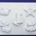 Karácsony-20 - gipszöntő forma (5 motívum) - karácsonyi figurák, Szerszámok, eszközök, Egyéb szerszám, eszköz, Gipszöntés,     Karácsony-20 - karácsonyi figurák  5 különböző figura: csillag, szarvas, harang, gömb, csizma  ..., Alkotók boltja