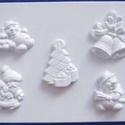 Karácsony-24 - gipszöntő forma (5 motívum) - karácsonyi figurák, Szerszámok, eszközök, Egyéb szerszám, eszköz, Gipszöntés,     Karácsony-24 - karácsonyi gipszöntő forma   5 különböző figura: télapó, 2 féle hóember, csengők..., Alkotók boltja
