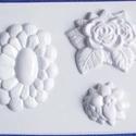 Növény-21 - gipszöntő forma (3 motívum) - virágok, Szerszámok, eszközök, Egyéb szerszám, eszköz,           Növény-21 - gipszöntő forma - virágok  - sablon: 16x24 cm- minta: 5-11 cm Az ár egy ..., Alkotók boltja