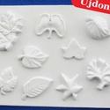 Növény-29 - gipszöntő forma (9 motívum) - levelek, Szerszámok, eszközök, Egyéb szerszám, eszköz, Gipszöntés,           Növény-29 - gipszöntő forma - levelek  - sablon: 28x20,5 cm- minta: 3-14 cm Az ár egy dar..., Alkotók boltja