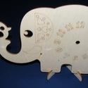 Fa óralap (26x16,5 cm/1 db) - elefánt kismadárral, Órakészítés, Óralapok, Mindenmás,  Fa óralap - elefánt kismadárral - állvánnyal  Mérete: 26x16,5 cmAnyaga: natúr rétegelt lemezAnyagv..., Alkotók boltja