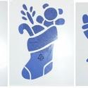 Karácsonyi sablon készlet-5 (3 féle minta), Szerszámok, eszközök,  Karácsonyi sablon készlet-5 - 3 féle minta (hópelyhek, csizma, mikulás)    Rugalmas, m..., Alkotók boltja