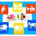 Sablon (14x15 cm/1 db) - 6 féle állat, Szerszámok, eszközök,  Sablon - 6 féle állat (papagáj, pillangó, hal, malac, elefánt, boci)  Rugalmas, műanyag sablo..., Alkotók boltja