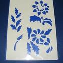 Sablon-25 (29x20 cm/1 db) - virágok (3 motívum), Szerszámok, eszközök,  Sablon-26 - virágok (3 motívum)  Rugalmas, műanyag sablon festékhez és struktúrpasztához.Kö..., Alkotók boltja