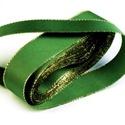 Szalag (23. minta/1 m) - zöld/arany, Textil,  Taft szalag (23. minta) - zöld- arany lurex szegéllyel - dróttal  A taft tekercs sűrű, fényes..., Alkotók boltja