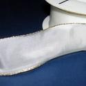 Szalag (3. minta/1 m) - fehér/arany lurex, Textil,  Taft szalag (3. minta) - fehér - arany lurex szegéllyel - dróttal  A taft tekercs sűrű, fényes, vás..., Alkotók boltja