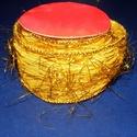 Szalag (42. minta/90 cm) - sárga/arany lurex, Textil,  Dekorszalag (42. minta) - sárga - arany lurex rátéttel - AKCIÓS  Ajánljuk dekoráláshoz, csok..., Alkotók boltja