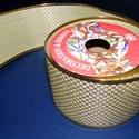 Szalag (45. minta/1 tekercs) - krém/arany kockás, Textil,  Dekorszalag (45. minta) - krém/arany kockás - arany szegéllyel - dróttal - AKCIÓS  Ajánljuk d..., Alkotók boltja