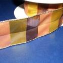 Szalag (48. minta/1 m) - kockás őszi színek, Textil,  Taft szalag (48. minta) - kockás őszi színek (sárga, barna, sötétbarna) - dóttal  A taft tek..., Alkotók boltja