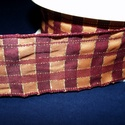 Szalag (49. minta/1 m) - narancssárga/bordó kockás, Textil,  Taft szalag (49. minta) - narancssárga/bordó kockás - arany csíkokkal - dróttal  A taft tekerc..., Alkotók boltja