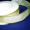 Szalag (5. minta/1 m) - krém/arany lurex, Textil,  Taft szalag (5. minta) - krém - arany lurex szegéllyel - dróttal  A taft tekercs sűrű, fényes..., Alkotók boltja